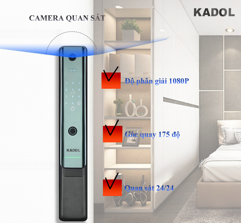 camera khoa cua van tay camera kadol k789 1  - Khóa cửa vân tay kadol k789