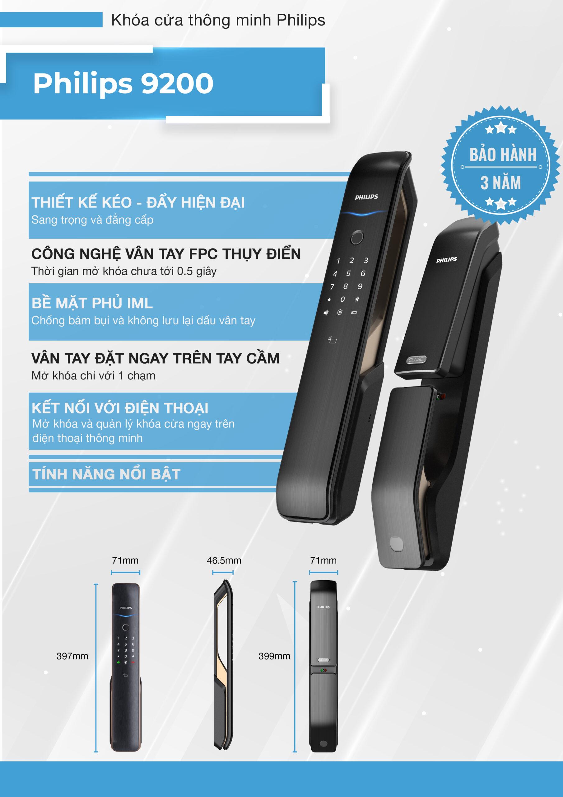 9200 1 1 scaled - Khóa Điện tử Philips 9200